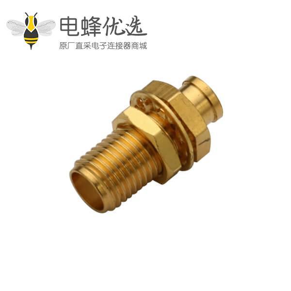 sma 射频同轴连接器直式穿墙式母头接线UT085