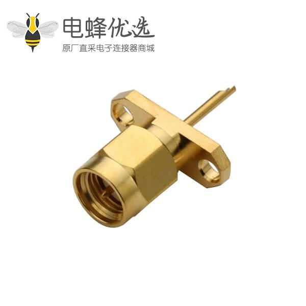 直式法兰盘2孔sma公头射频同轴连接器