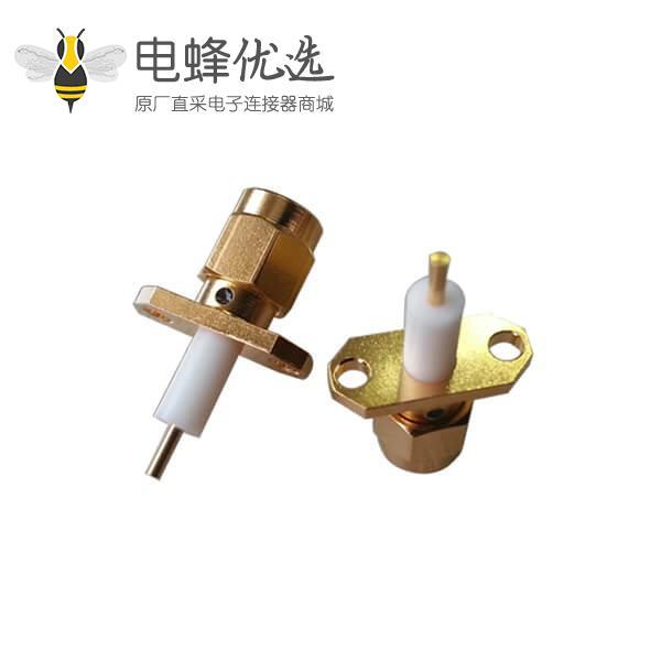 SMA 2孔法兰直式公头延伸式SMA连接器