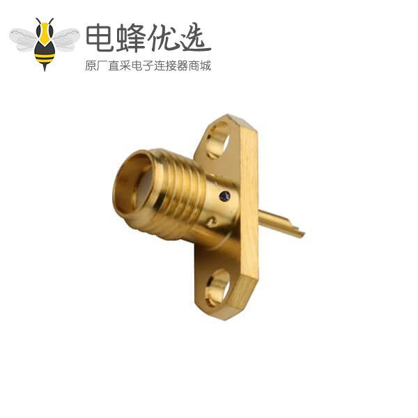 sma母头2孔法兰盘直式镀金焊接同轴连接器