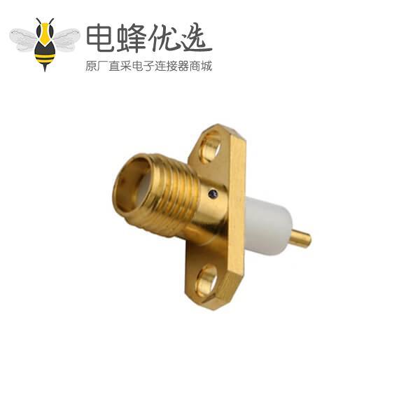 射频同轴连接器直式母头法兰盘2孔延长铁氟龙面板安装SMA板端