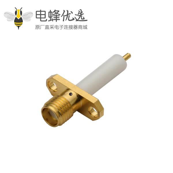 射频同轴SMA连接器母头 直式2孔法兰盘延长铁氟龙面板安装