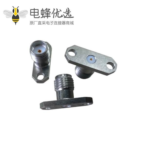 SMA射频同轴连接器直式母头2孔法兰面板安装