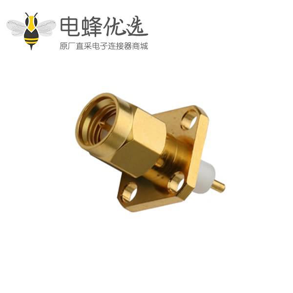 SMA 射频连接器4孔法兰盘公头树脂灌胶延长铁氟龙面板安装