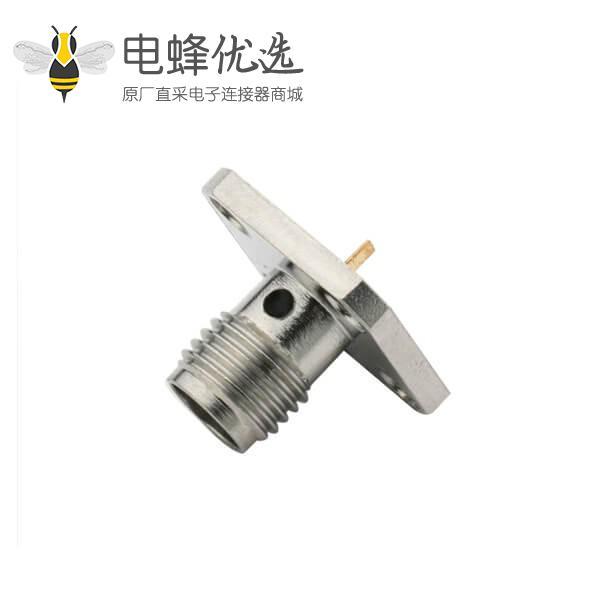 视频线头SMA树脂灌胶 法兰盘4孔直式母头连接器面板安装