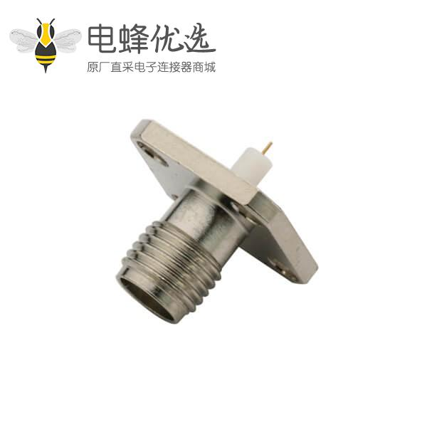 音视频连接器SMA铁氟龙法兰盘4孔直式母头面板安装