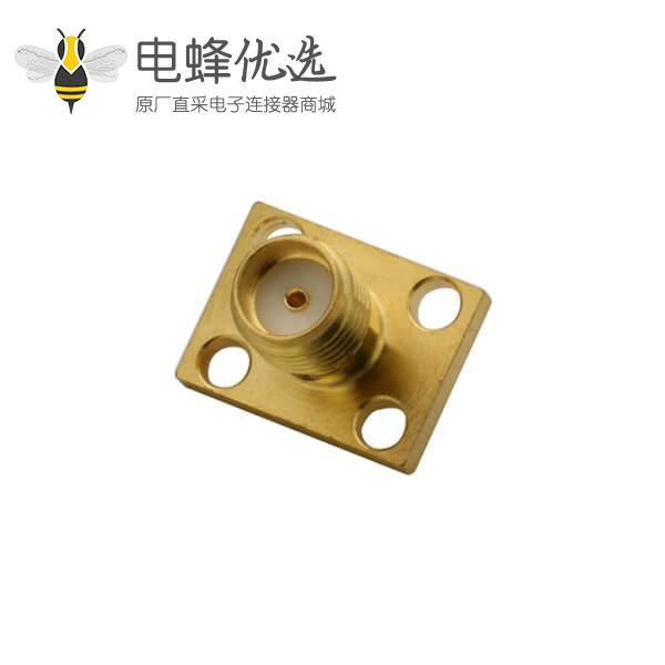 视频插头母头sma射频同轴连接器4孔方形法兰盘直式面板安装