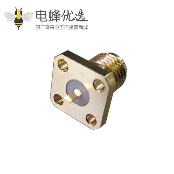 同轴音频SMA连接器直式母头4孔法兰盘树脂灌胶SMA面板安装板端