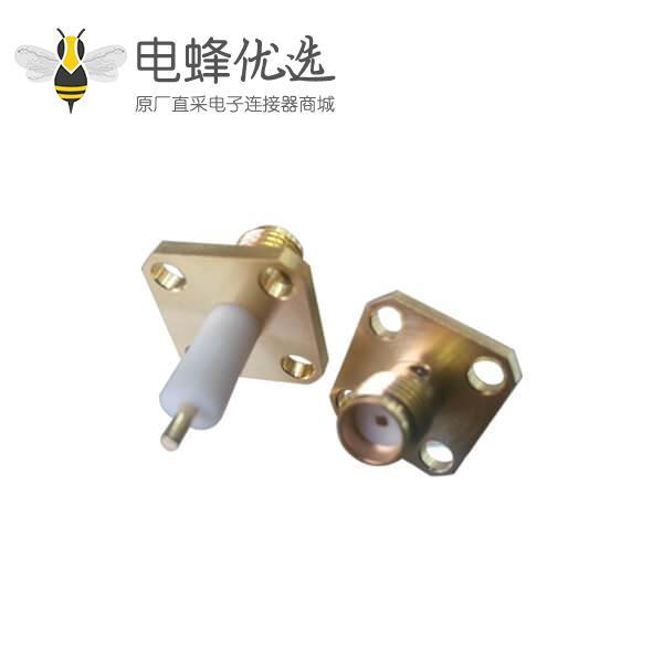同轴 音频树脂灌胶方形法兰盘4孔延长铁氟龙面板安装SMA板端