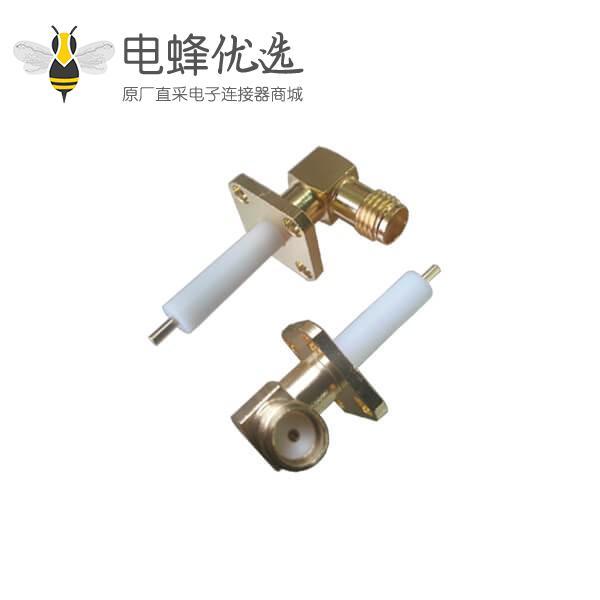 有线电视连线接头弯式SMA母头插座镀金带延长铁氟龙4孔法兰安装