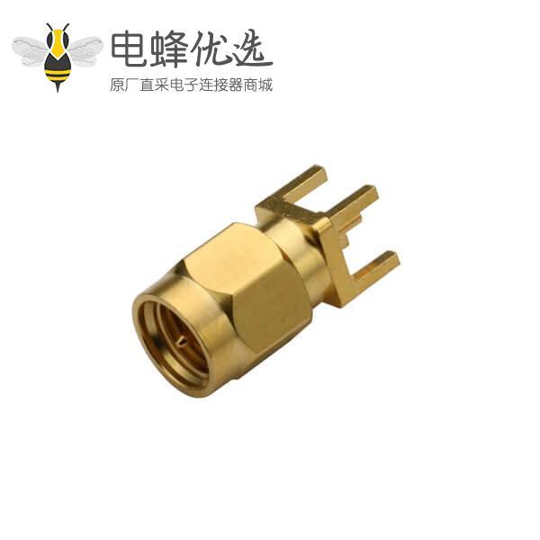 有线电视面板SMA穿孔式直头带公针插头镀金连接器