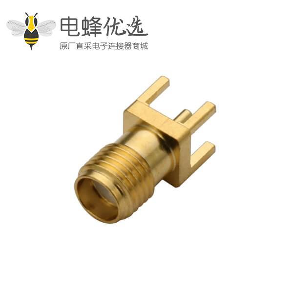 SMA直式穿孔母头连接器PCB用镀金视频接头