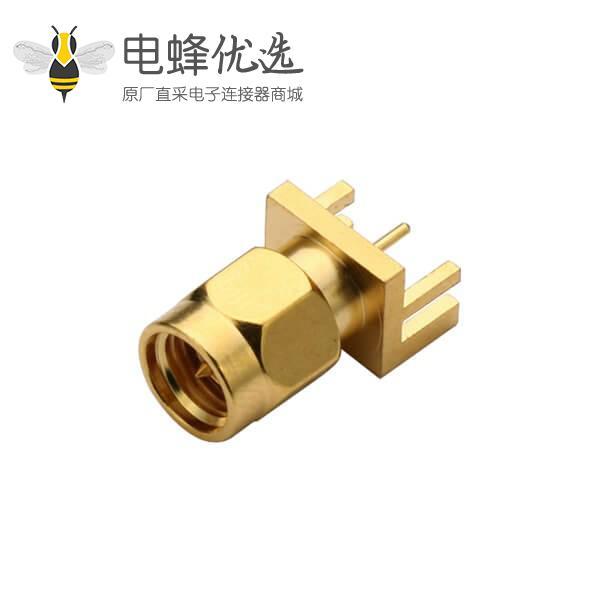 PCB射频连接器SMA卡板式镀金直式公头插座