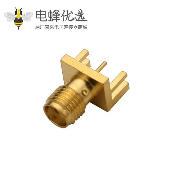 PCB 插头SMA卡板式母头插座镀金180度直式