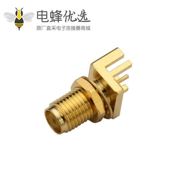 直插 PCB卡板式SMA镀金母座前锁穿墙式接1.60mm电路板