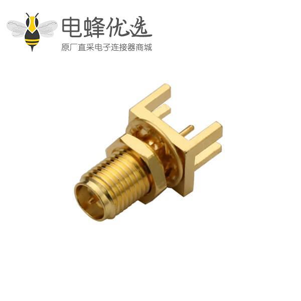 pcb连接器插座板缘表贴式反极SMA插座直式前穿墙连接器接1.57mm电路板