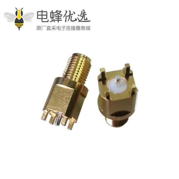 pcb连接器头SMA前穿墙直式母头穿孔接头 中心针镀银