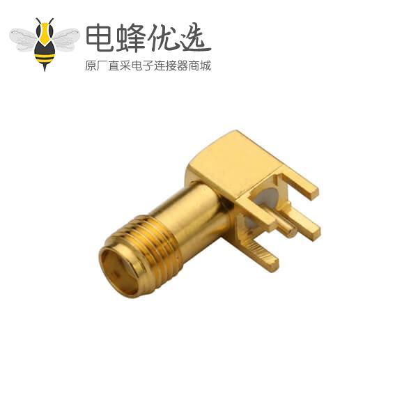 pcb插板连接器弯式穿孔SMA镀金连接器母头