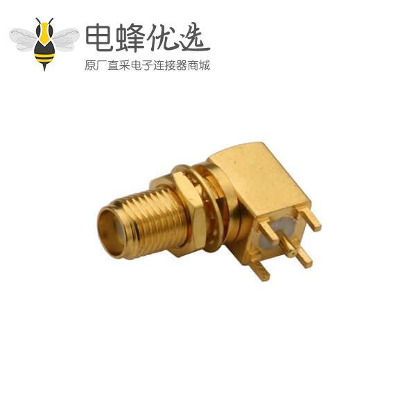 pcb 板连接器90度SMA前穿墙母头连接器镀金