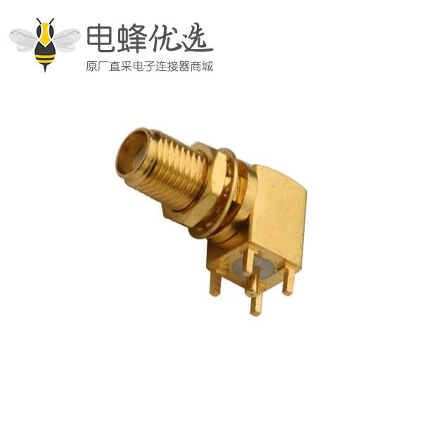 pcb板连接器穿孔式SMA弯式母头前穿墙面板安装连接器镀金