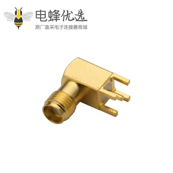 PCB插座母头SMA弯式90度穿孔接PCB镀金插座