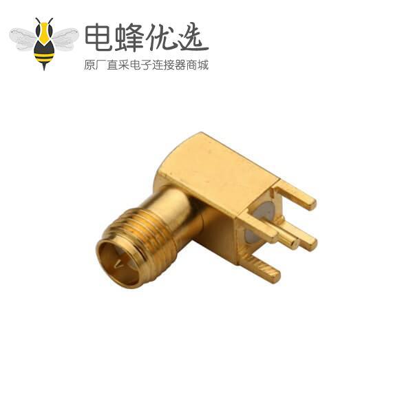 pcb音频插座反极SMA弯头母座穿孔式镀金连接器