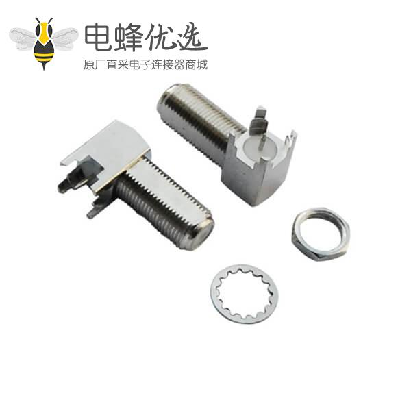 射频pcb连接器F头弯式穿墙式PCB板端