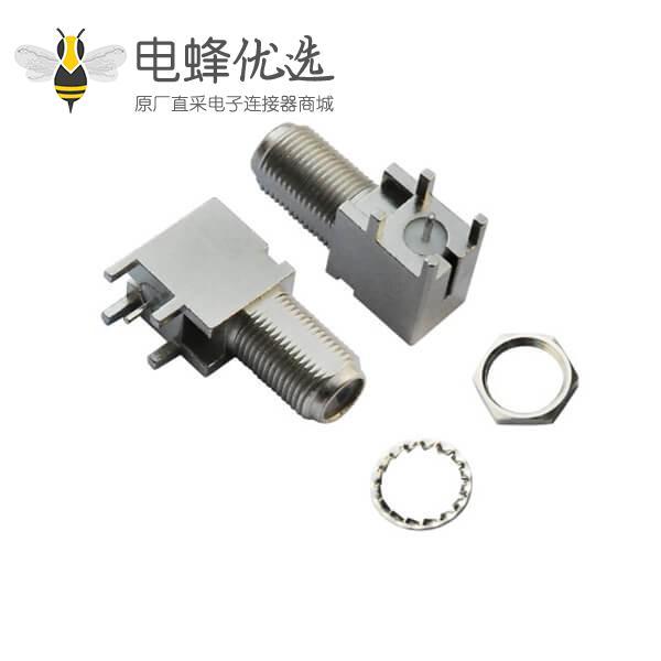 pcb插板连接器弯式穿墙式母头f头连接器