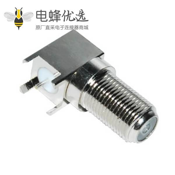 pcb射频连接器板端f头弯式穿墙母头