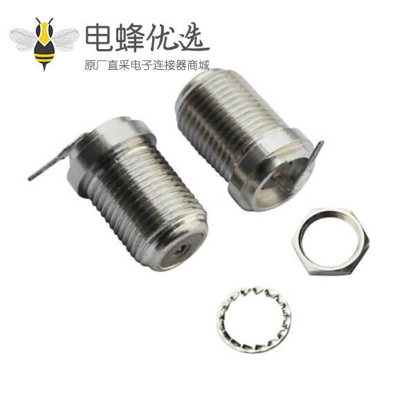 f射频同轴连接器弯式穿墙式PCB板端母头