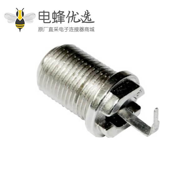 f头转角连接器母头穿墙式 射频同轴PCB板端