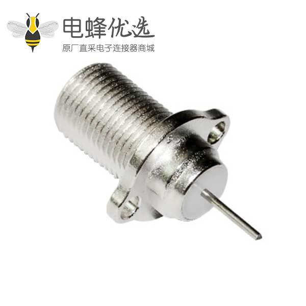 f头射频同轴连接器2孔法兰直式穿墙面板安装