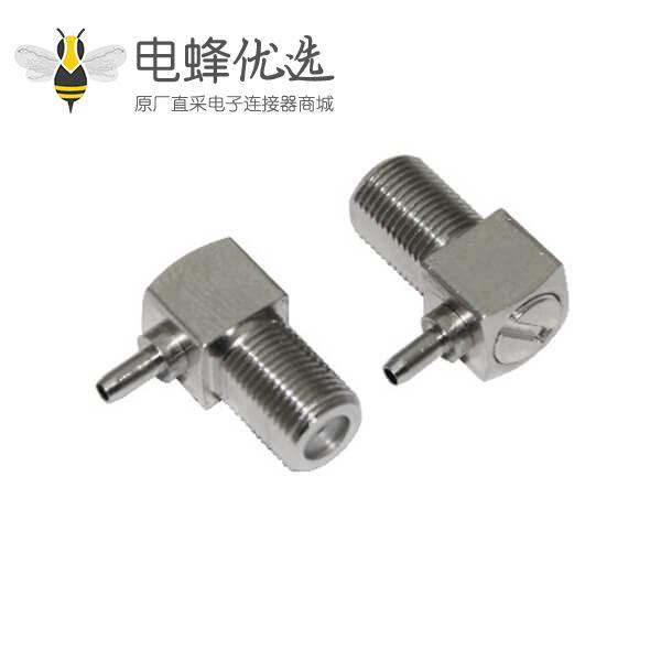 f型连接器压接弯式母头同轴线缆RG174