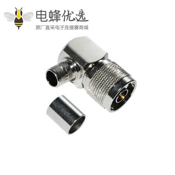 射频同轴电缆RG58/59/6/174/213弯式压接N头连接器公头