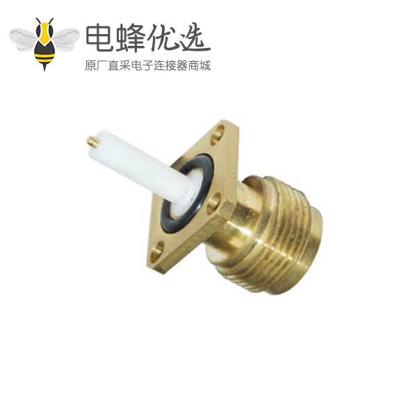 n母头射频连接器直式防水镀金4孔法兰盘面板安装