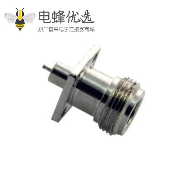 n型母头直式4孔法兰盘射频同轴连接器面板安装