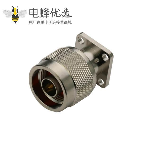 专业N型连接器直式射频同轴4孔法兰盘型公头