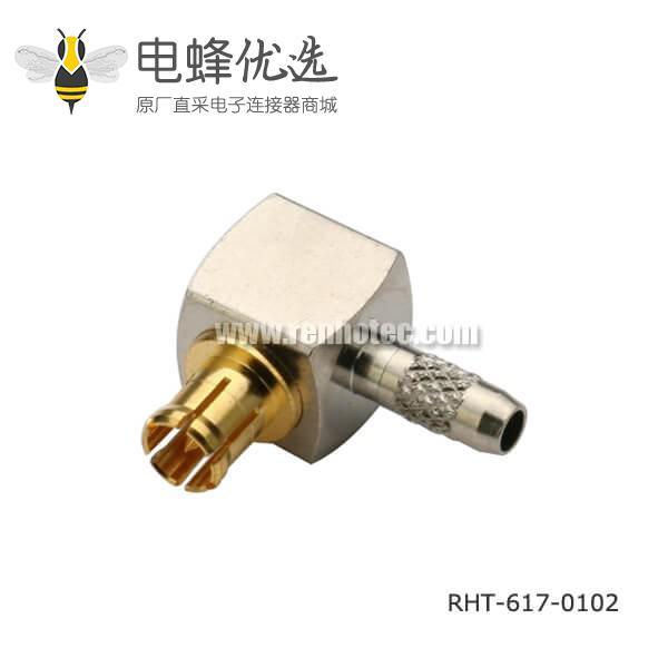 电视同轴电缆接头公头弯式压接RG179 mcx连接器